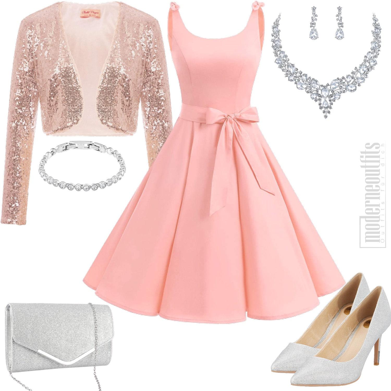 Rosa Damenoutfit mit Kleid und Pailletten Bolero