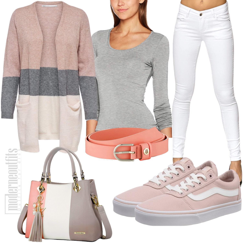 Rosa Graues Frauenoutfit mit Strickjacke und Jeans