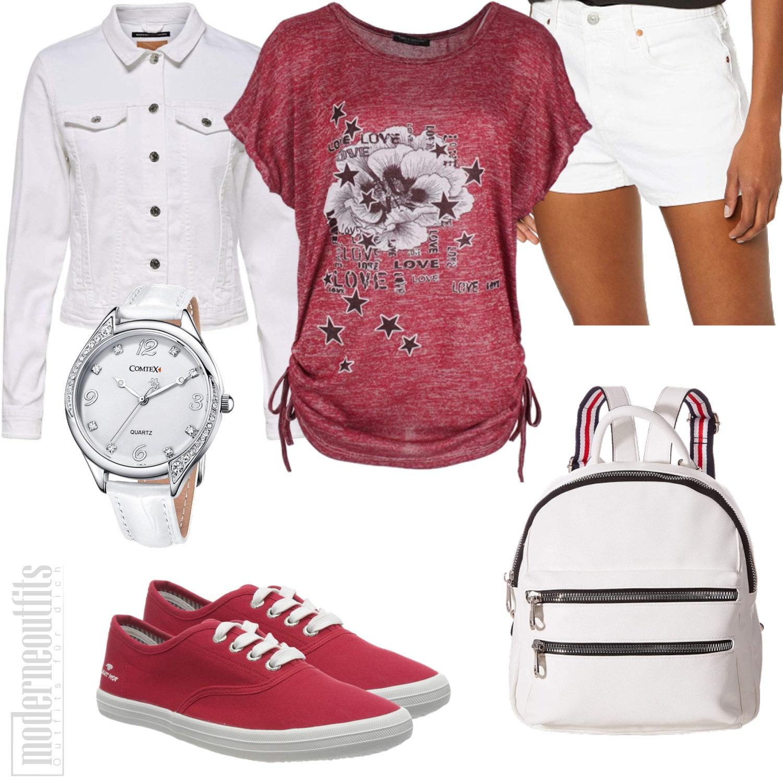 Rot Weißes Damen Style mit T-Shirt und Shorts