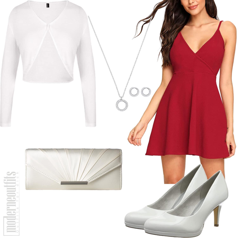 Rotes Sommerkleid für Frauen mit Bolero und Kette