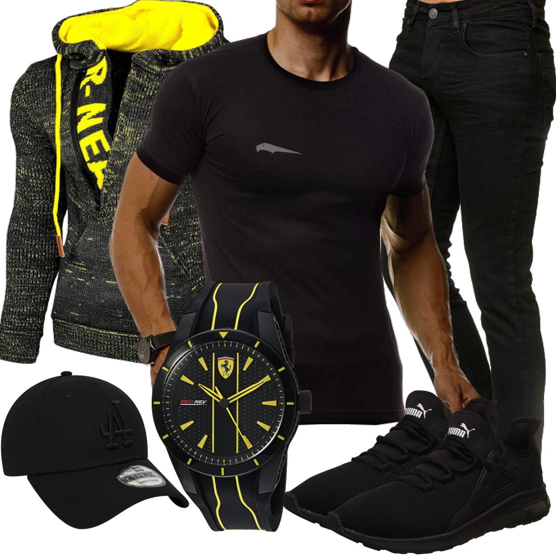 Schwarz-Gelbes Herrenoutfit mit Shirt und Hoodie