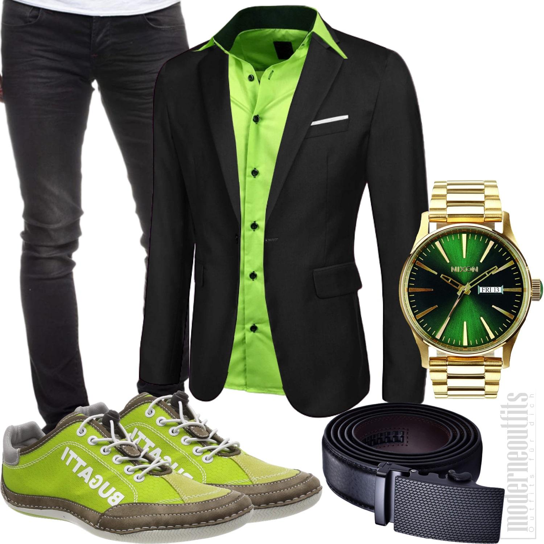 Schwarz Grünes Herrenoutfit mit Shirt, Sakko und Jeans