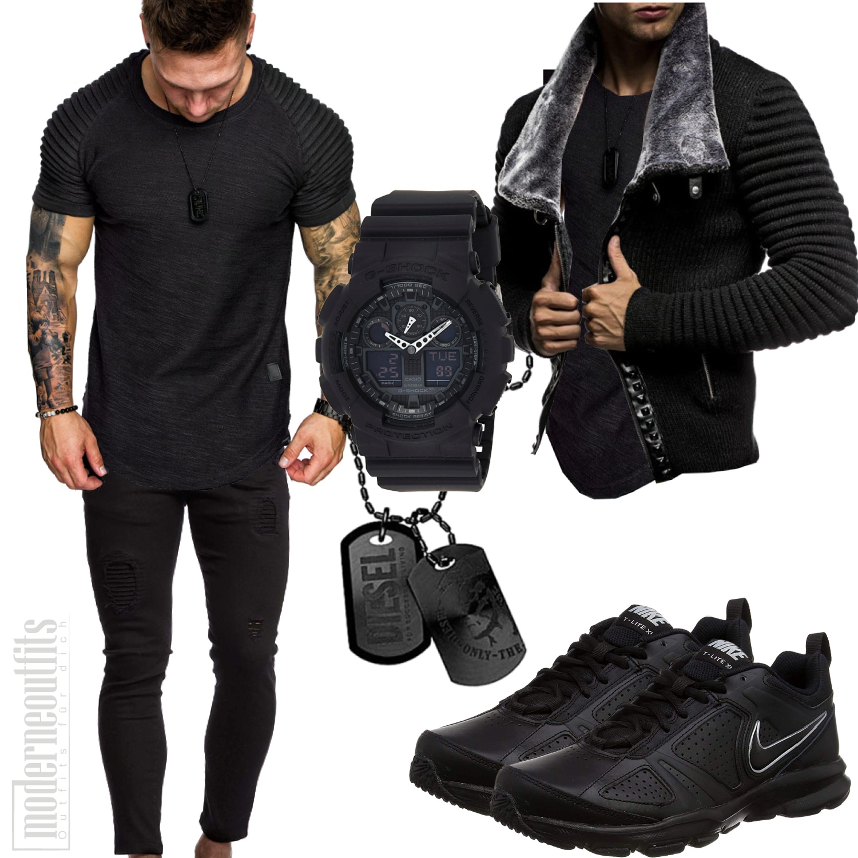 Schwarzes Männer-Outfit mit Shirt, Strickjacke und Sportschuhen