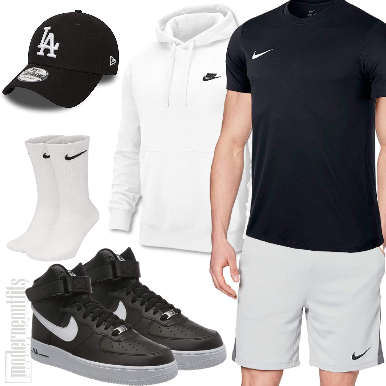 Sommer-Herrenoutfit Schwarz und Weiß mit Shorts