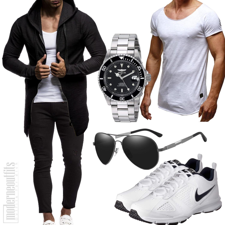 Street-Style für den Mann mit Shirt, Jeans und Sneaker