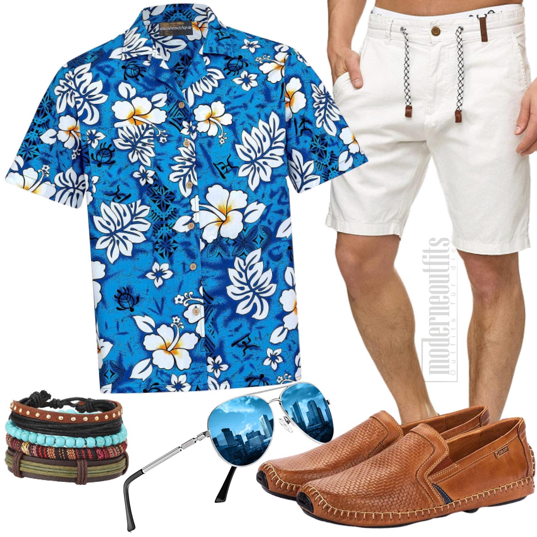 Weiß Blaues Sommer Herrenoutfit mit Hawaiihemd, Sonnenbrille