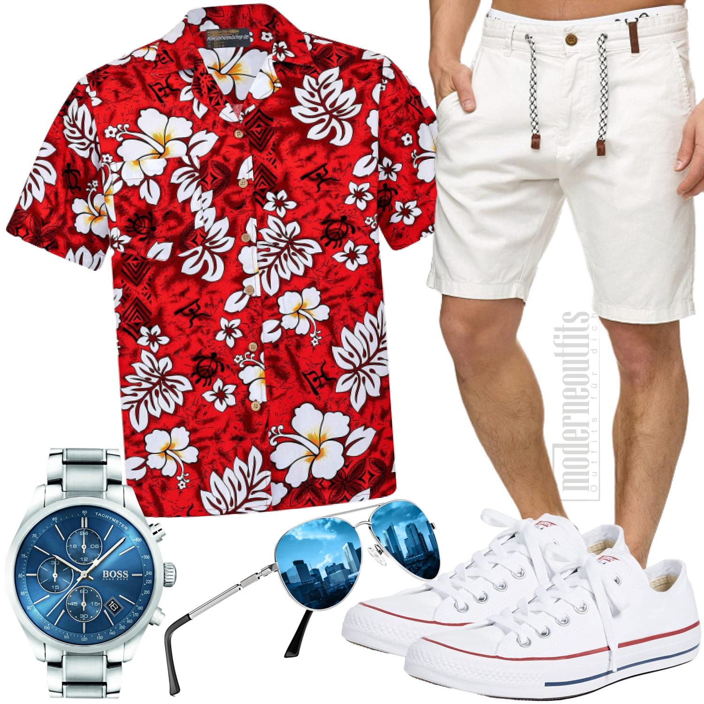 Sommer Herrenoutfit mit Hawaiihemd in Rot Weiß