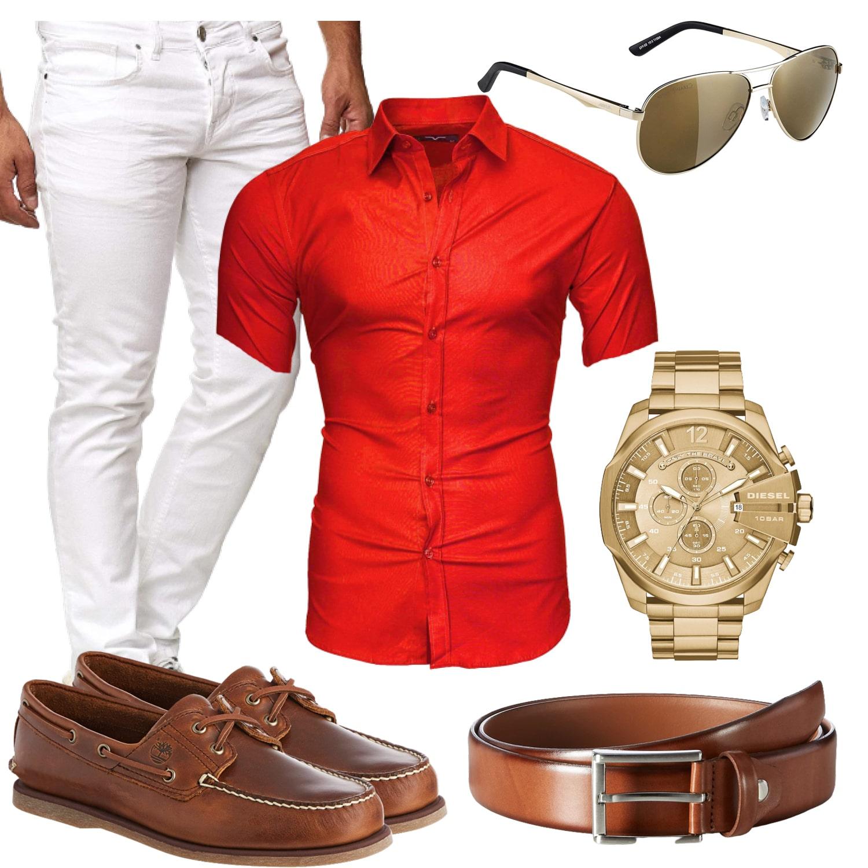 Elegantes Sommer Herrenoutfit für 2020 in Rot und Weiß