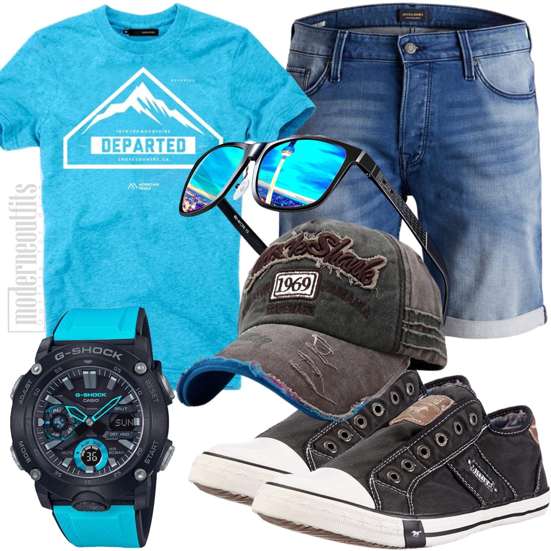 Sommer Herrenstyle für die Freizeit mit Shorts Tshirt blau