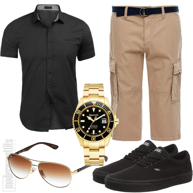 Sommer Männerstyle Beige Schwarz mit Shorts und Hemd