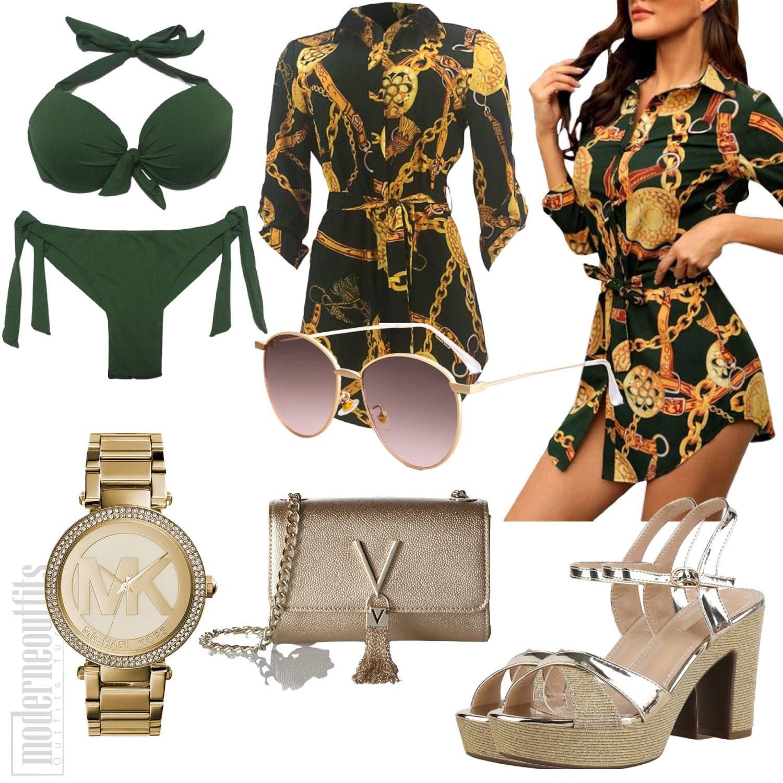 Grünes Blusenkleid Sommeroutfit mit Bikini, Sandalen und Uhr