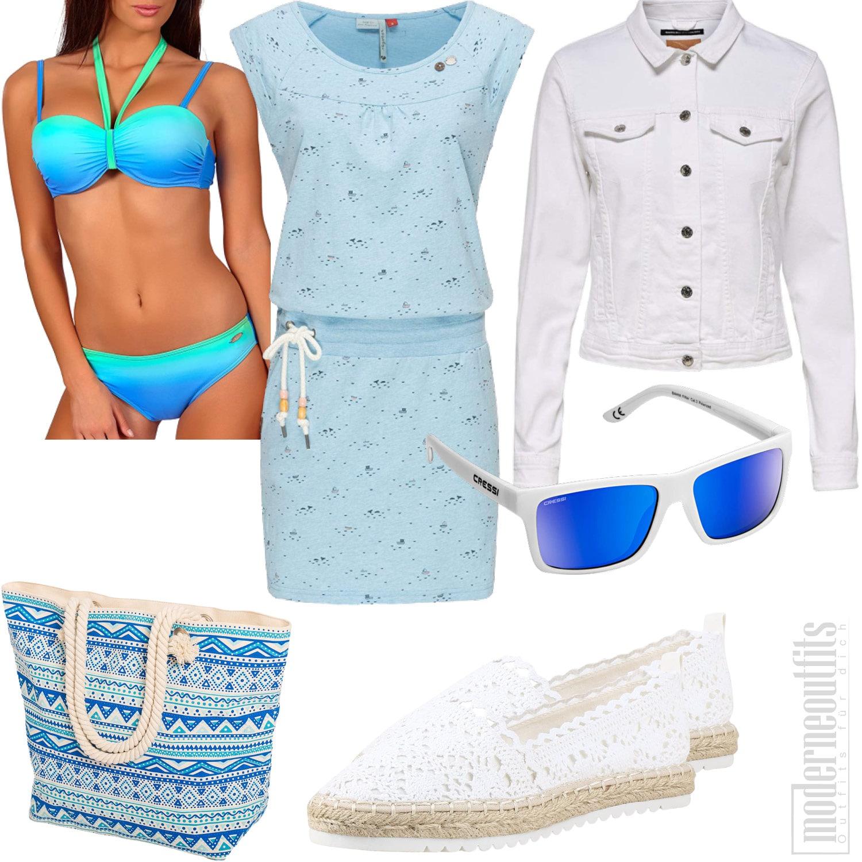 Sommeroutfit für Frauen mit Sommerkleid und Bikini