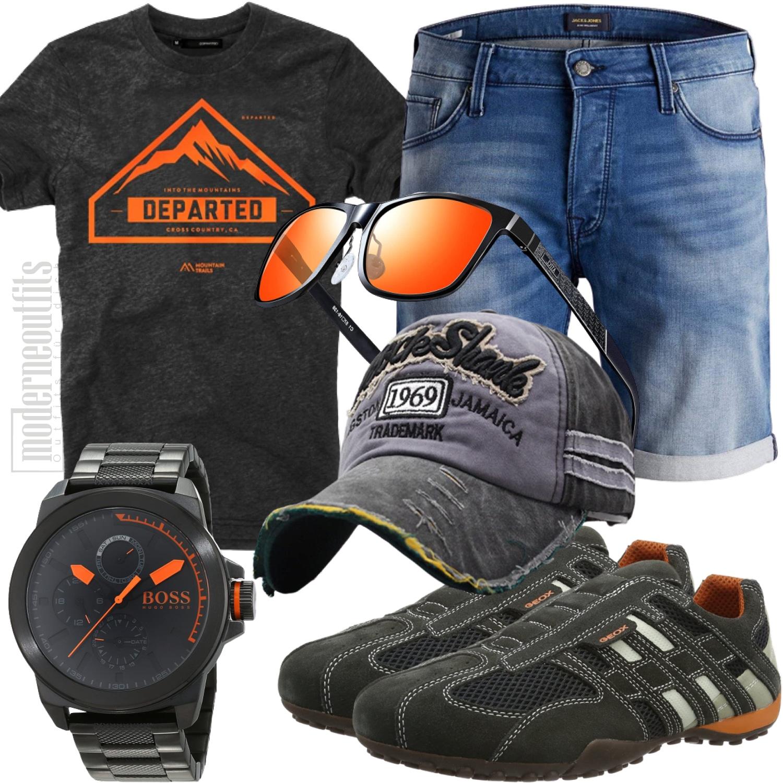 Sommeroutfit Herren für Freizeit und Strand in Orange Grau