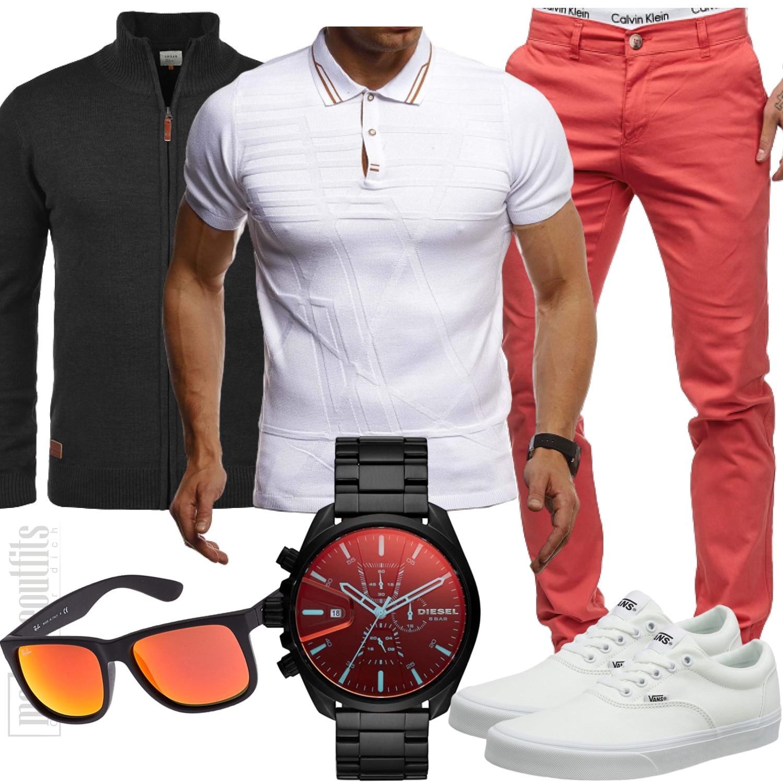 Sommeroutfit Rose-Weiß für den Mann mit Strickjacke