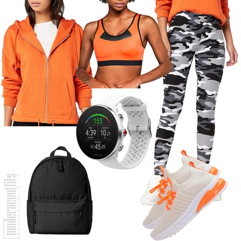 Sport Outfit für Frauen mit Sweatjacke und Sportuhr