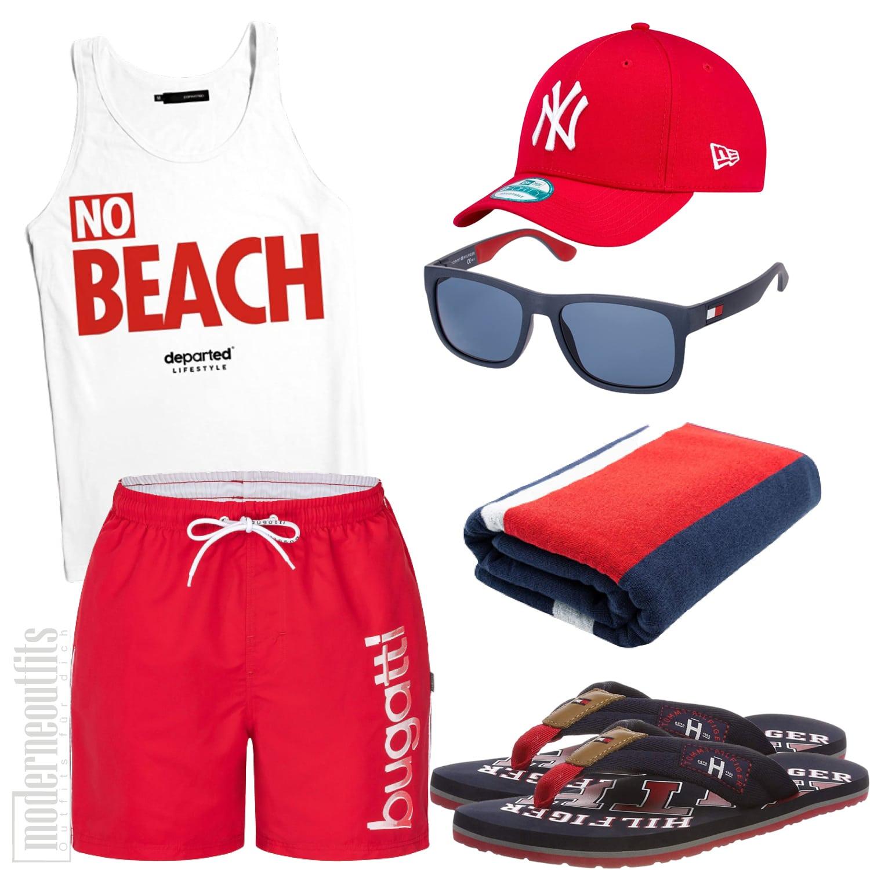 Rot-Weißes Strandoutfit für Herren mit Badeshort und Tank-Top