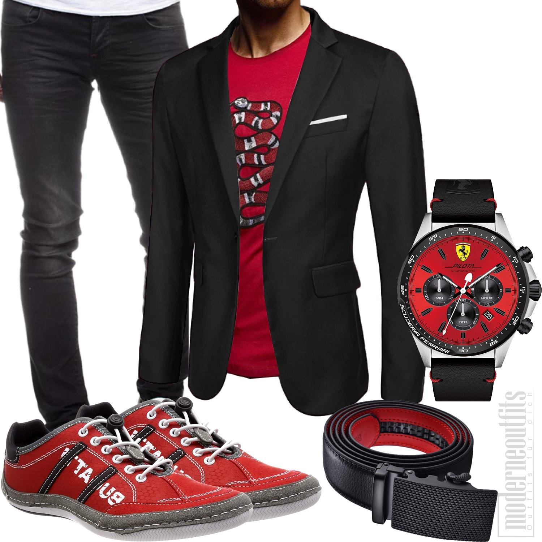 Schwarz Rotes Streetwear Herrenoutfit mit Sakko, Shirt, Sneakers