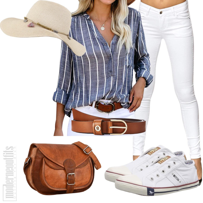 Streifenblusen Outfit für die Frau mit Jeans und Hut