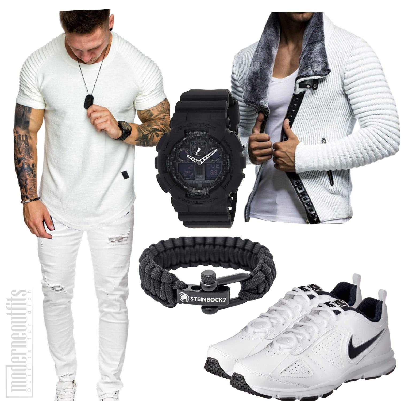 Weißes Herrenoutfit mit Shirt und Jacke und Sportschuhen