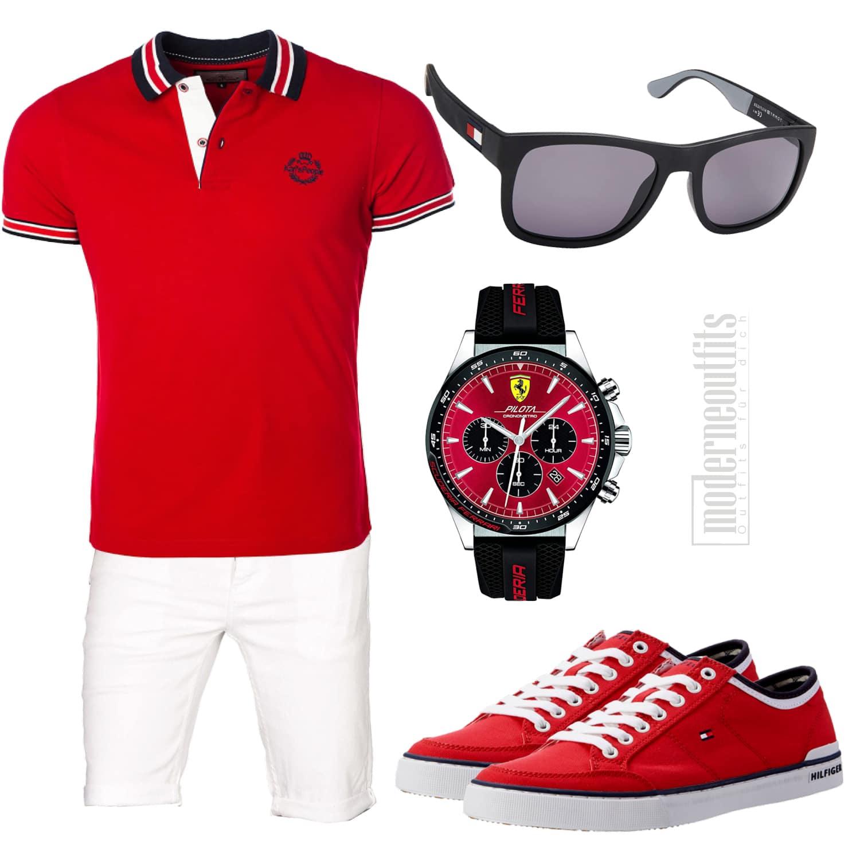 Weiß-Rotes Herren-Sommeroutfit mit Poloshirt, Sneakern und Uhr