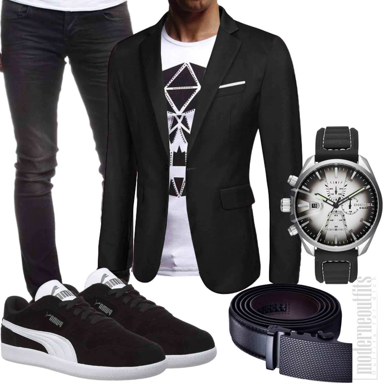 Weiß Schwarzes Herrenoutfit mit Shirt, Sakko, Sneakers