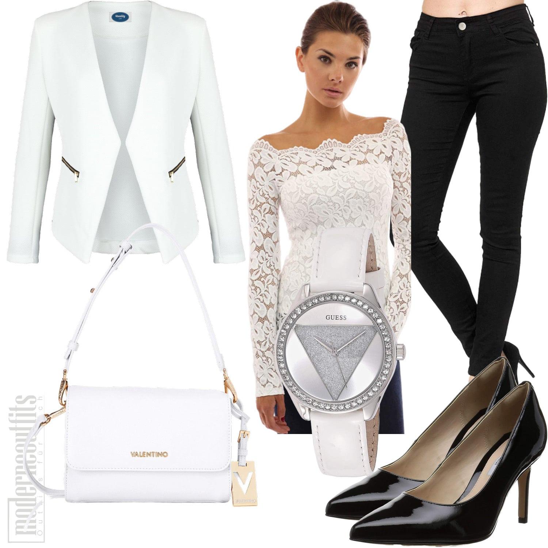 Weisses Business Outfit für Frauen mit Spitzentop und Blazer