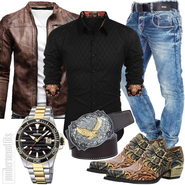 Cowboy Herren Outfit mit Western Gürtel und Lederjacke