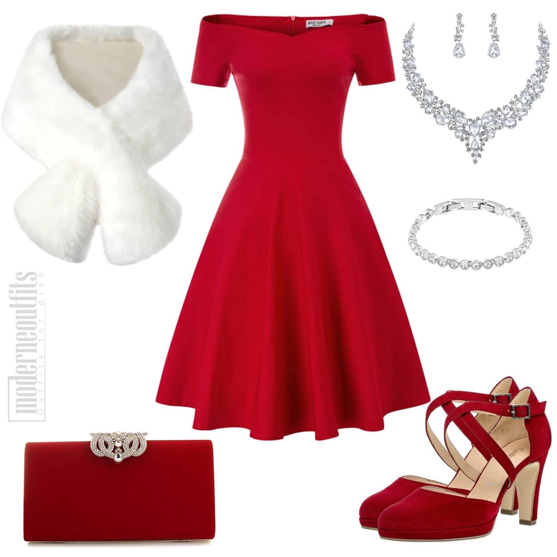Damen Outfit in Rot mit Kleid, Stola und Pumps