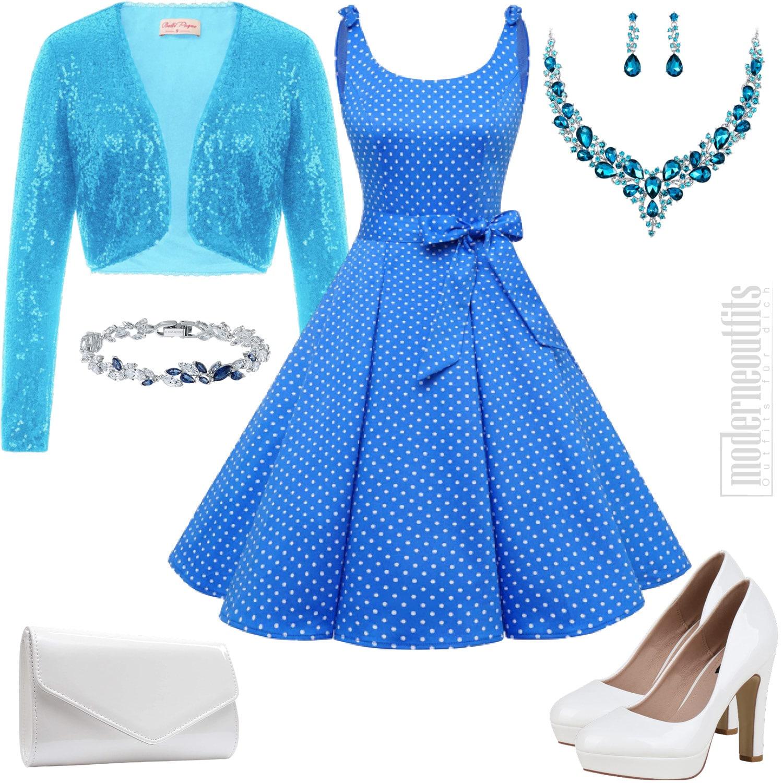 Damen Style in Blau mit Kleid und Pailletten Jacke