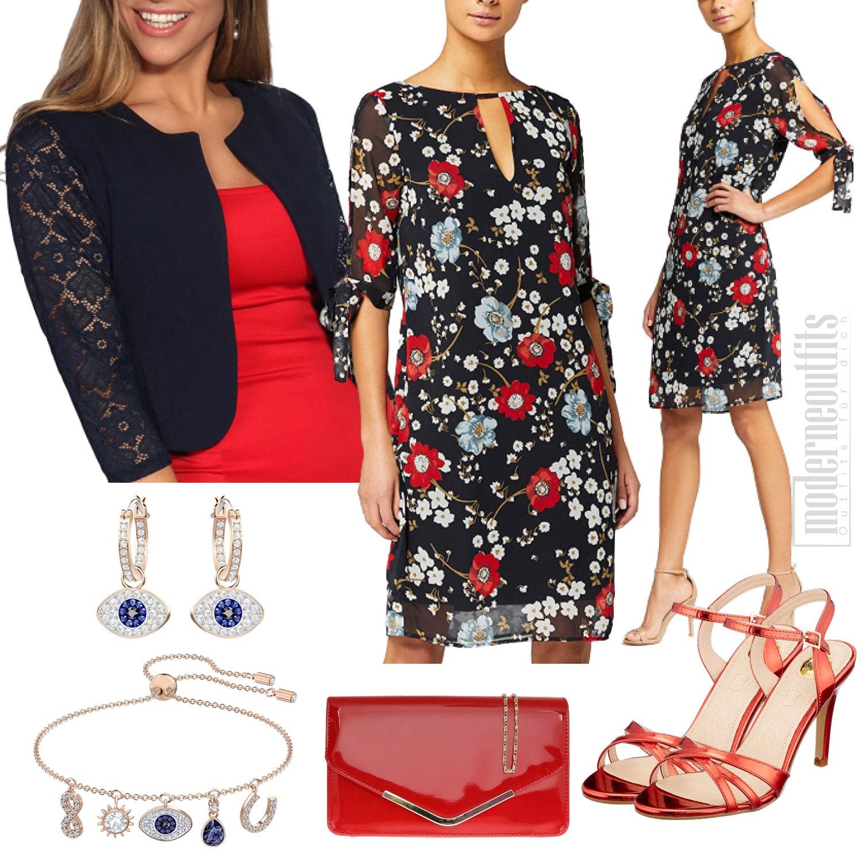 Damen Style in Blau-Rot mit Kleid und Bolero