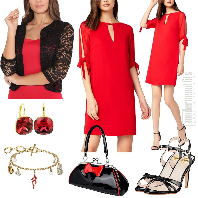 Damen Style in Rot mit Kleid und Bolero