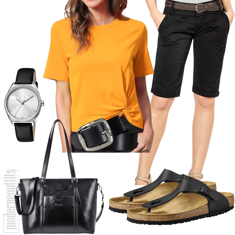 Gelb Schwarzes damenoutfit mit Shirt und Bermudas