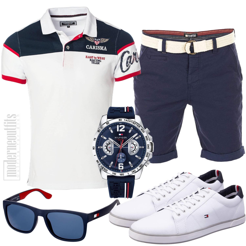 Herren Outfit Sportlich Elegant mit Shorts und Shirt