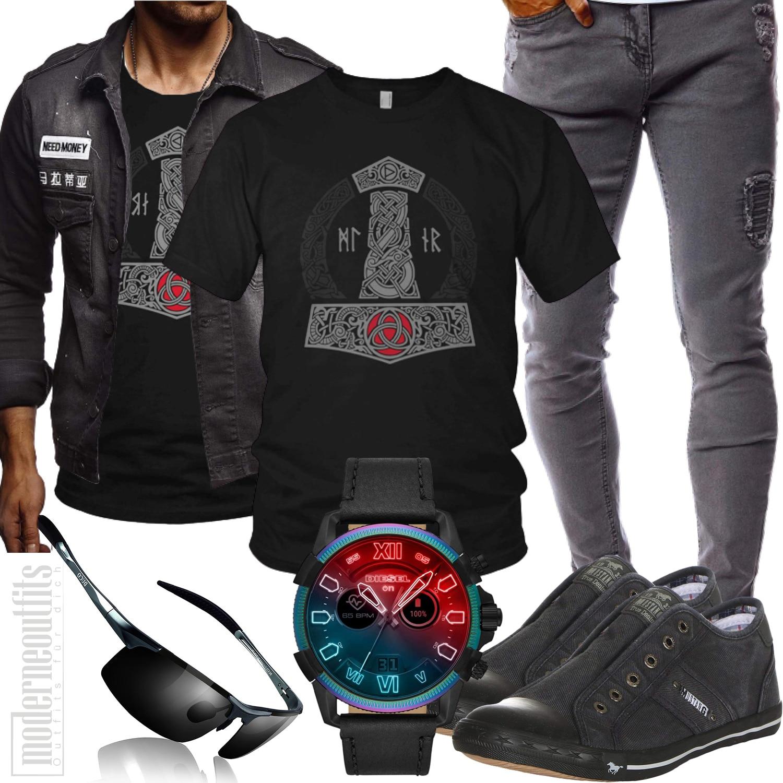 Herren Style in Grau mit Shirt, Hose und Sneakers