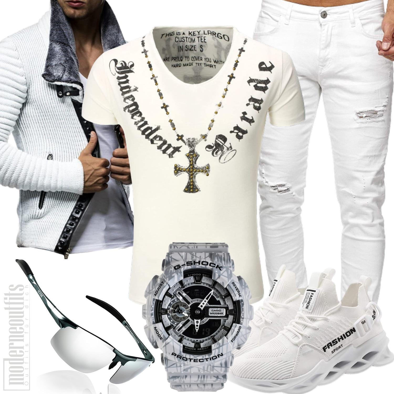 Herren Style in Weiß mit Jeans, Shirt und Uhr