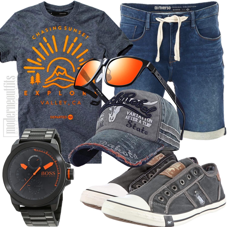 Grau Oranges Herrenoutfit für Freizeit und Urlaub mit Jeans