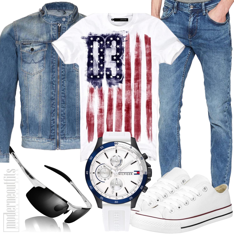 Komplettes Jeans Herrenoutfit Weiß Blau mit Jeansjacke