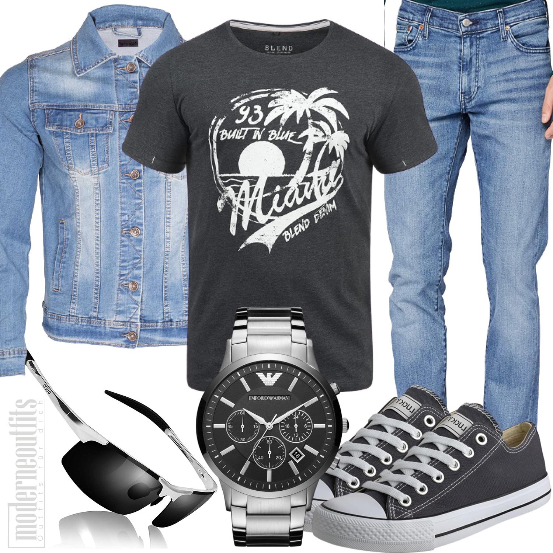 Komplettes Jeans Herrenstyle mit Shirt und Jeansjacke