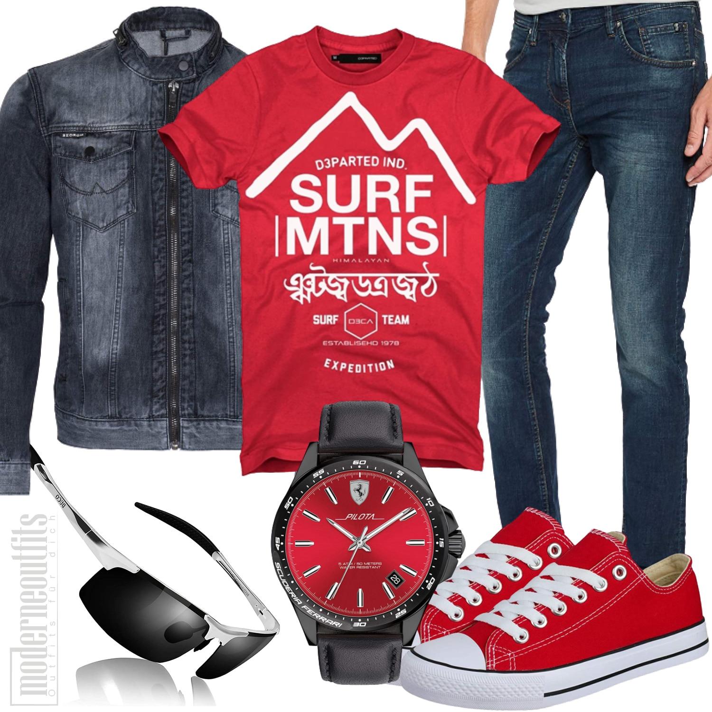 Komplettes Jeans Männeroutfit in Rot Schwarz mit Sneakers