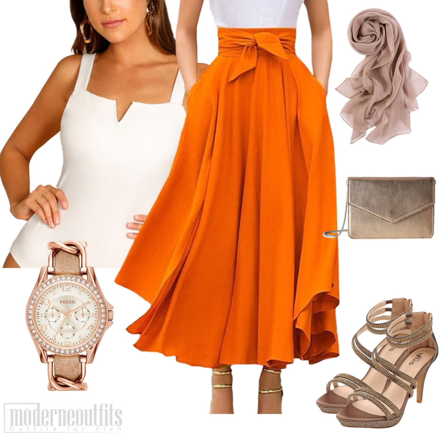 Damen Style in Orange mit Faltenrock und Body