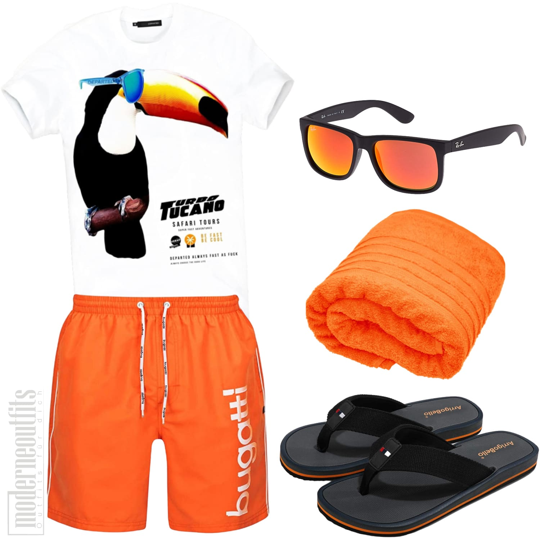 Strand Outfit Herren mit Badeshort, Shirt und Zehentrenner