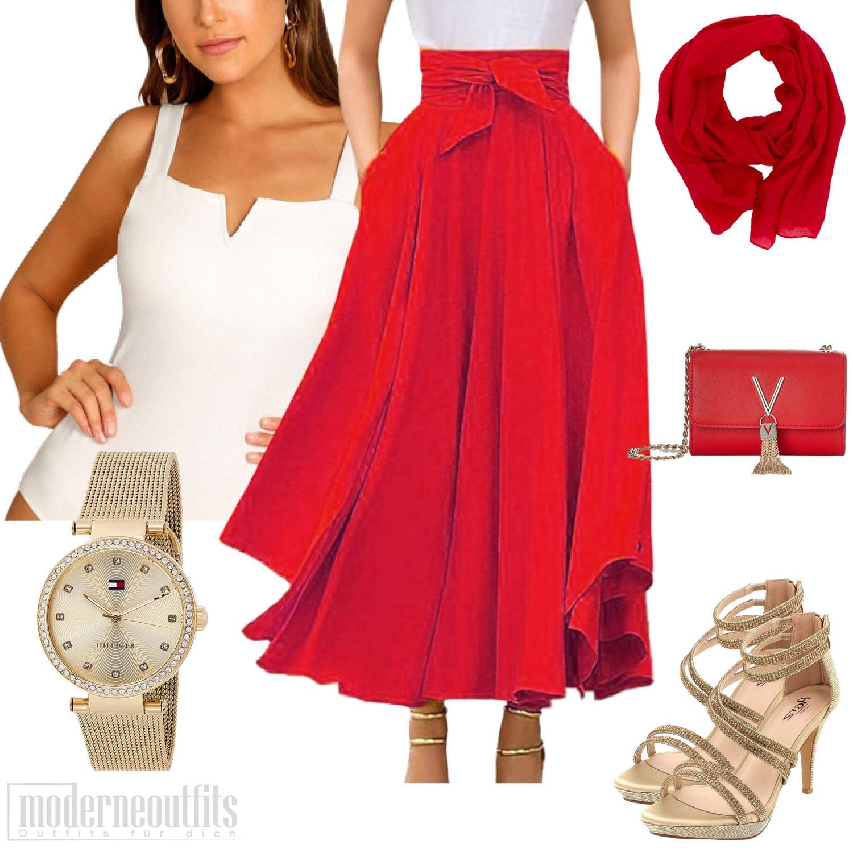 Rotes Sommeroutfit für Frauen mit Bodysuite und Faltenrock