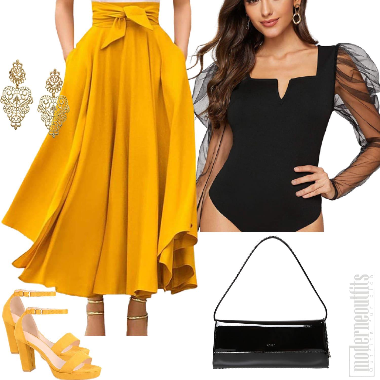 Schwarz Gelbes Frauenoutfit mit Faltenrock Bodysuite