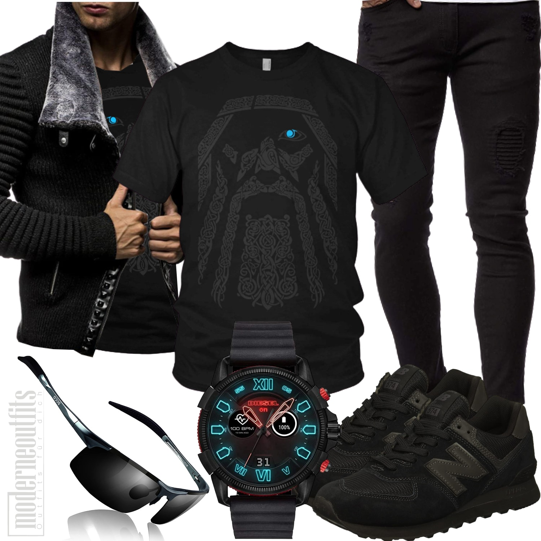 Herren Style in Schwarz mit Jeans und Shirt