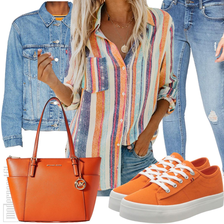 Buntes Sommer Damenstyle mit Streifenbluse, Jeans und Jacke