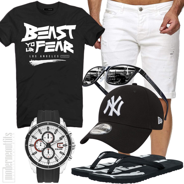 Sommer Männeroutfit für den Strand, Schwarz, Weiß
