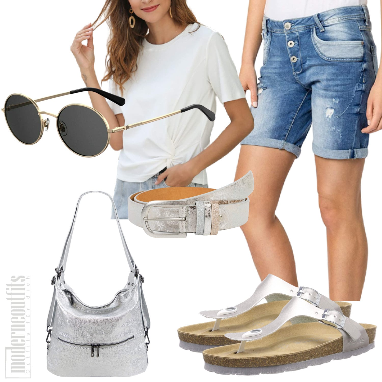 Weisses Sommeroutfit für Frauen mit Shirt und Shorts