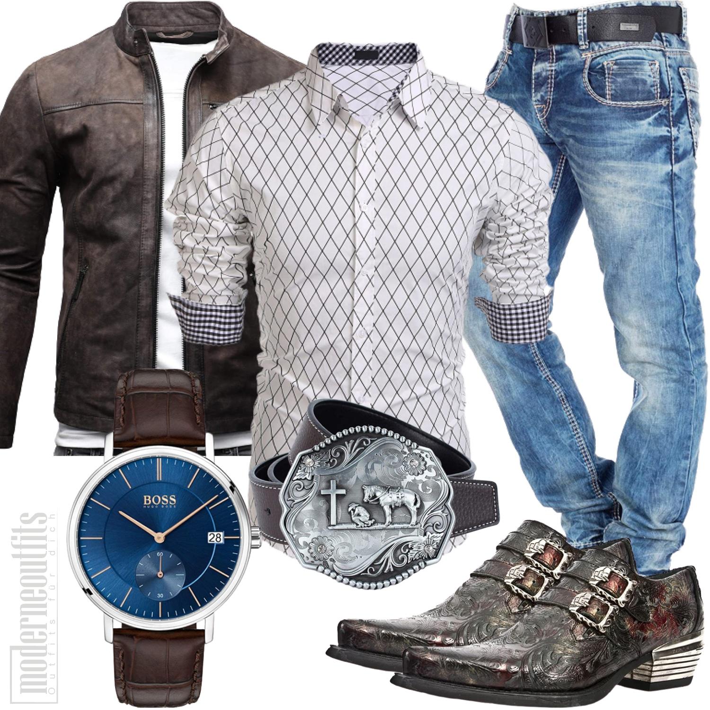 Western Herren Outfit mit Cowboystiefel, Hemd und Gürtel