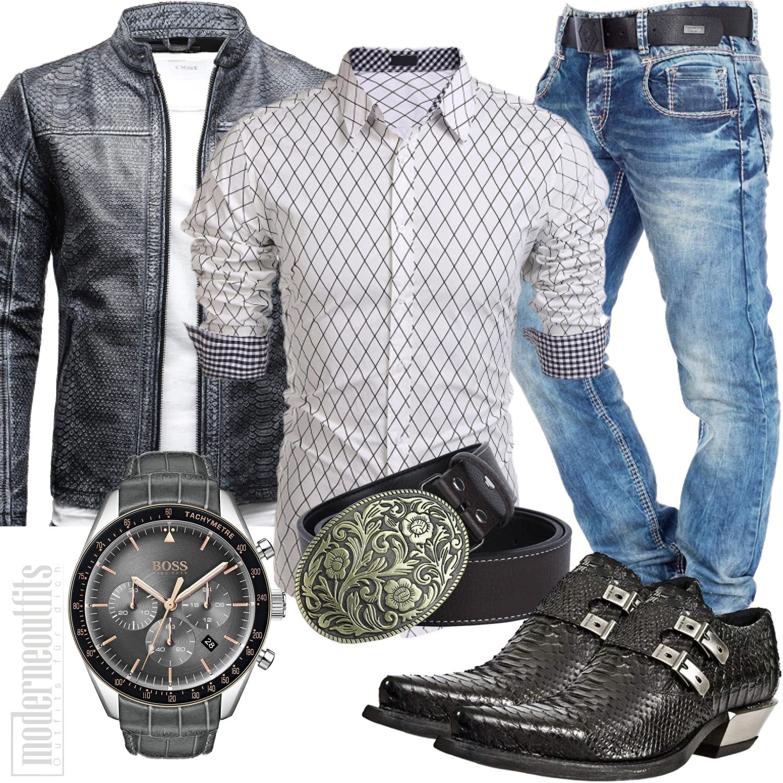 Western Männer Outfit mit Schlangenleder Jacke und Stiefel