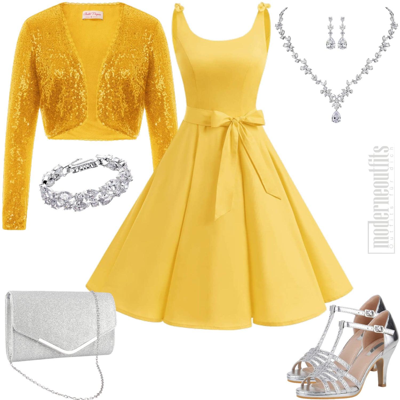 Damen Style in Gelb mit Pailletten Jacke und Kleid